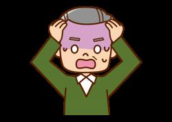 頭を抱えている中年男性の画像