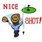 ゴルフでナイスショットをしている男性の画像