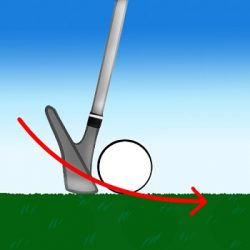 ゴルフボールにインパクトしている瞬間の画像