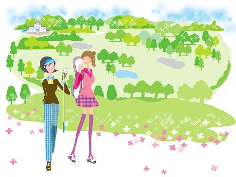 女性のアマチュアゴルファーの画像