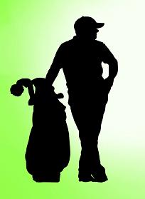 ゴルフのトッププロコーチのシルエット