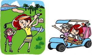 楽しそうにゴルフをしている二人の女性