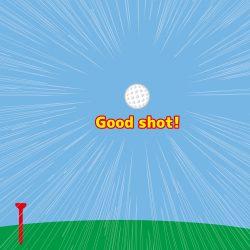 ゴルフボールが理想の軌道で飛んでいるところ