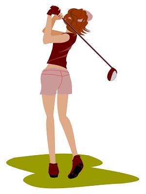 シングル級の女性ゴルファーのスイング画像
