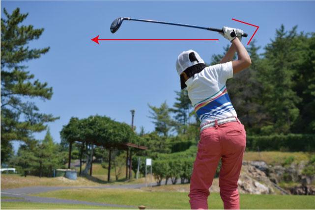 ゴルフにおけるバックスイングでの腕や肘の位置・角度の画像